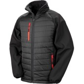 Black compass padded soft shell jacket black / red 3xl