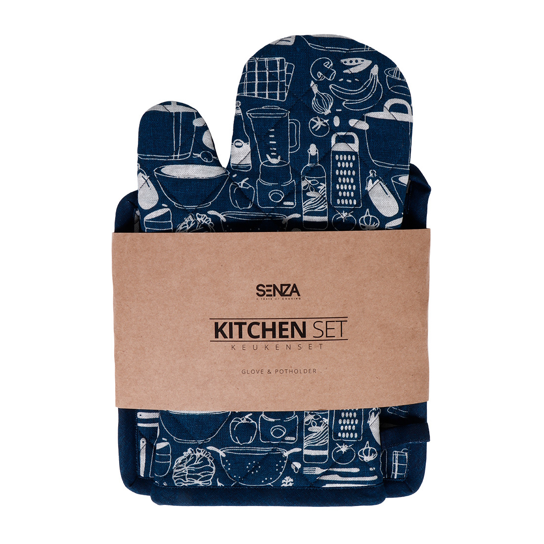 SENZA Glove & Potholder Blue