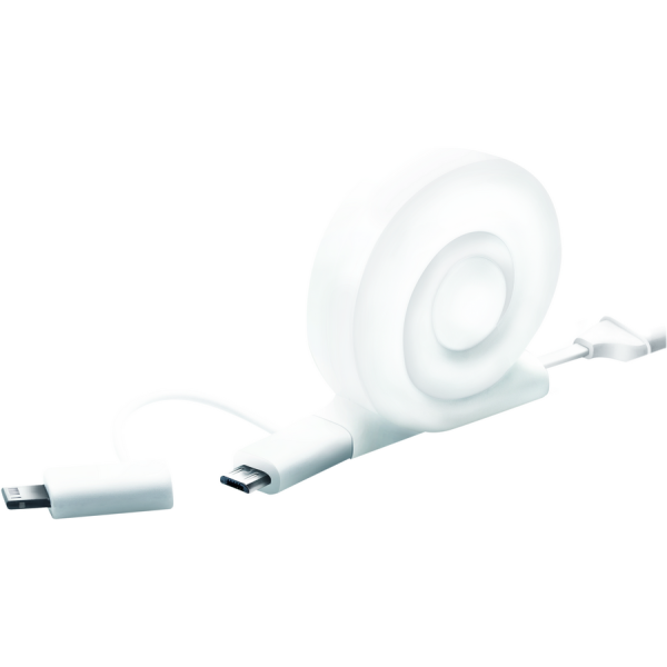 Snail 2-in-1 Micro USB cable with MFI iPhone 5/6 adapter, retractable