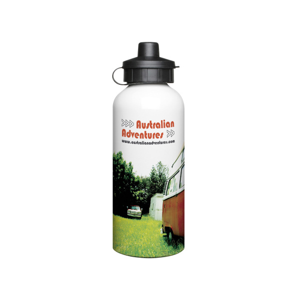 Bedrukte Aluminium 600ml drinkfles wit