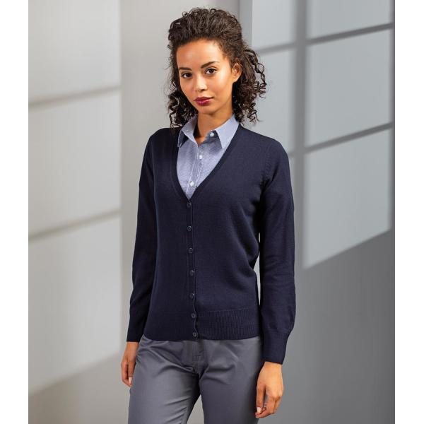 Ladies Essential Acrylic V Neck Cardigan