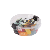 Transparant Biodegradable bakje met los deksel, gevuld met 40 gr. choco carletties of jelly Beans