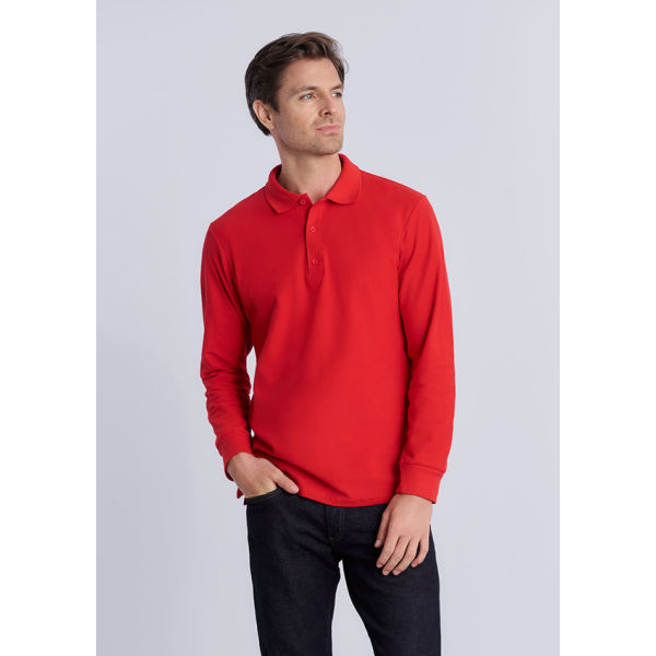 Gildan Polo Premium Cotton Double Pique LS for him