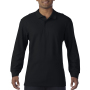 Gildan Polo Premium Cotton Double Pique LS for him Black S