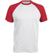 Baseball - tweekleurig t-shirt white / red s