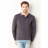 Long-sleeved button neck t-shirt