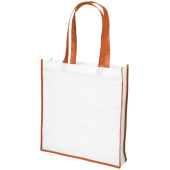 Large contrast non woven boodschappentas - Wit/Oranje