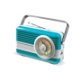 Powerbank 6000mAh & retro speaker 3W - Licht Blauw / Wit