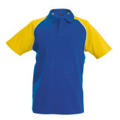 Baseballpolo royal blue / yellow 'l