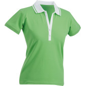 Ladies' Elastic Polo Short-Sleeved - lime/wit