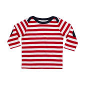 Baby Stripy Long Sleeve T - Red/Washed White/Navy