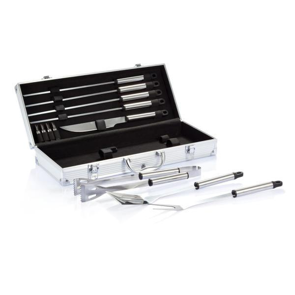 12-delige barbecue set in aluminium koffer, zilver