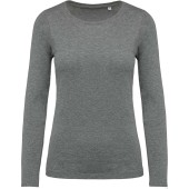 Dames-t-shirt bio-katoen ronde hals lange mouwen grey heather xs