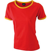 Ladies` Flag-T - rood/goudgeel