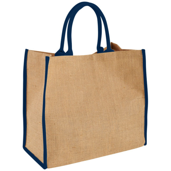 Grote Jute tas - Naturel,Navy