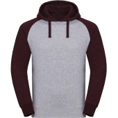 Authentic hooded baseball sweatshirt light oxford / burgundy melange xxl