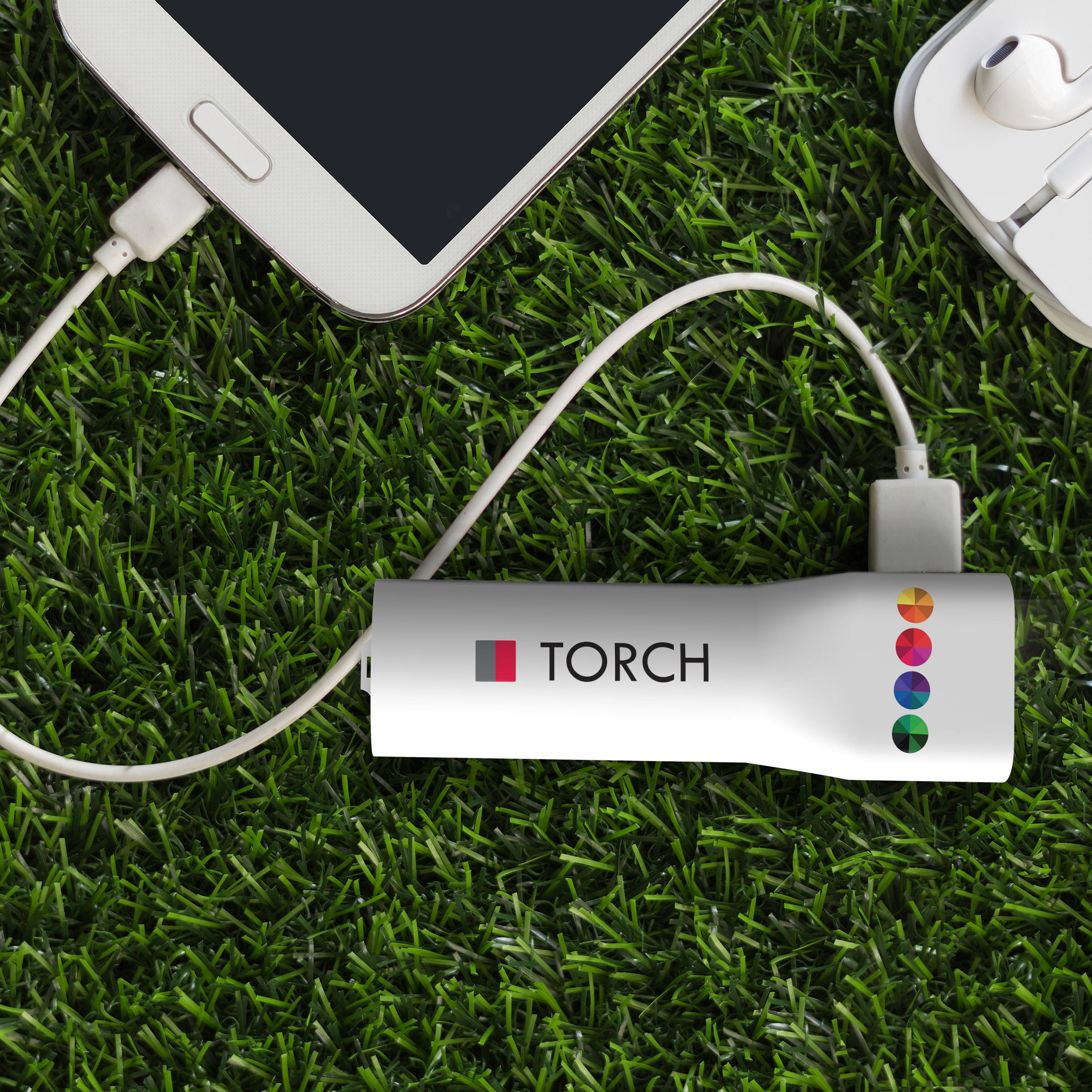 Powerbank Torch 2200 mAh  Wit met bedrukking in full color