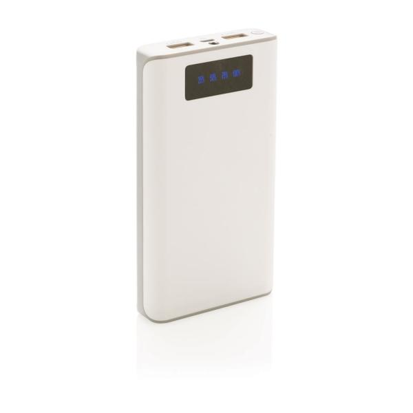 Bedrukte 10.000 mAh powerbank met display, wit