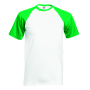 Valueweight S/S Baseball T, White/Kelly Green, S, FOL