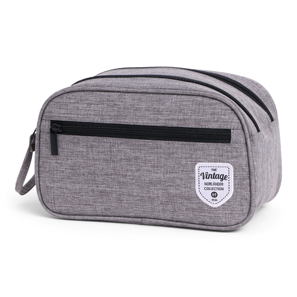 Vintage Twin Tone Cosmetic Bag Grey