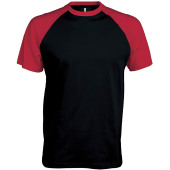 Baseball - tweekleurig t-shirt black / red s
