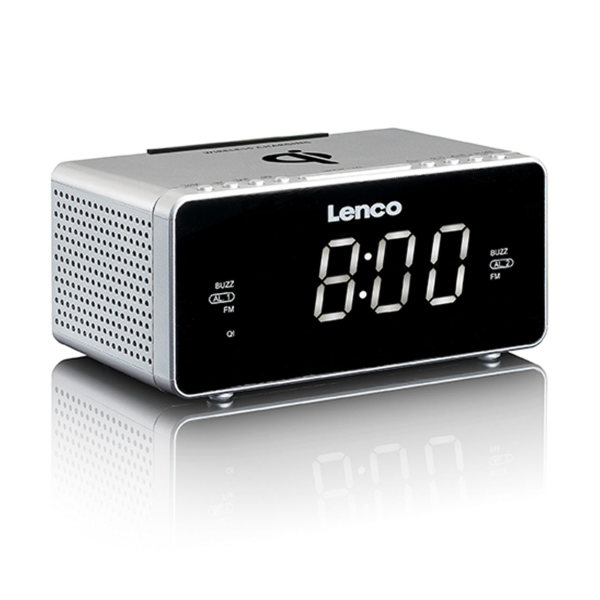 Lenco Clock Radio with Qi Wireless Charger - silver