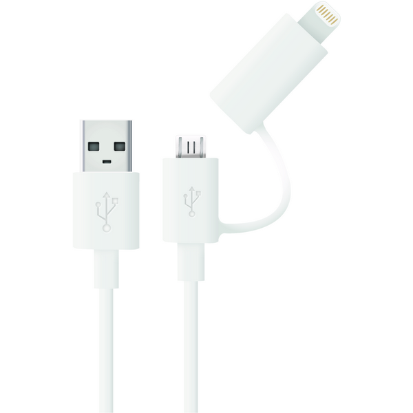 2-in-1 Micro USB cable with MFI iPhone 5/6 adapter