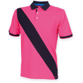 Diagonal stripe men's polo shirt bright pink / navy m
