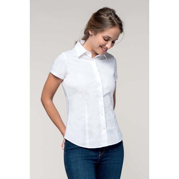 Dames stretch blouse korte mouwen