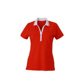 Ladies' Elastic Polo Short-Sleeved - tomaat/wit