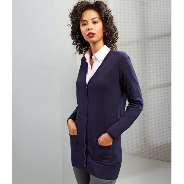 Ladies Longline V Neck Cardigan