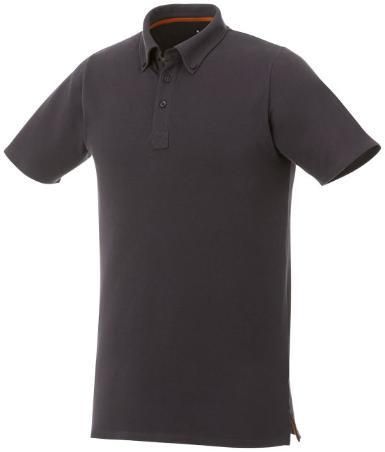 Atkinson button-down heren polo met korte mouwen - Storm Grey -