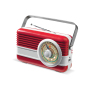 Powerbank 6000mAh & retro speaker 3W rood / wit