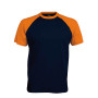 BASE BALL > T-SHIRT BICOLORE MANCHES COURTES navy / orange L