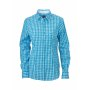 Ladies' Checked Blouse turquoise/wit