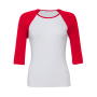 3/4-Sleeve Contrast Raglan T-Shirt M White/Red