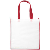 Large contrast non woven boodschappentas - Wit/Rood