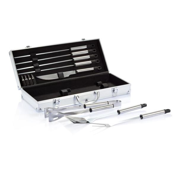 12-delige barbecue set in aluminium koffer, zilver P422.182