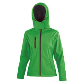 Core ladies tx performance hooded soft shell jacket vivid green / black s