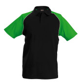 Baseballpolo black / green 'xl