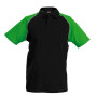 Baseballpolo black / green xl