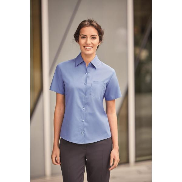 Ladies Shortsleeve Classic Pure Cotton Poplin Shirt
