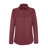 Dames stretch blouse lange mouwen wine s