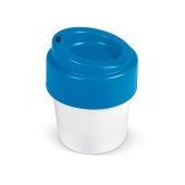 Hot-but-cool koffiebeker met deksel 240ml - Wit / Blauw