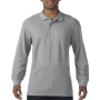 Gildan Polo Premium Cotton Double Pique LS for him Sports Grey S