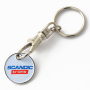 H-920 Keyholder In Silver Finishing With Coin (Logo Soft Enameling and Printing)