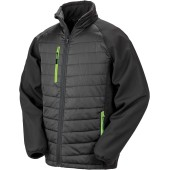 Black compass padded soft shell jacket black / lime s