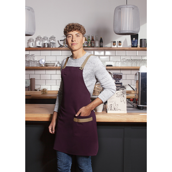 Bib Apron Urban-Look with Cross Straps and Pocket 70 x 85 cm