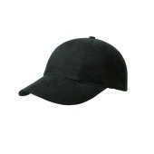 Brushed 6 Panel Cap, Turned Top Zwart