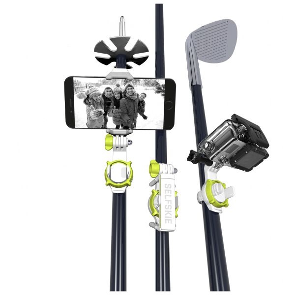 The SELFSKIE is the world's best all-in-one mount that allows you to use your Smartphone and GoProon the stick you're already using – such as your ski pole, golf club, umbrella or your fishing rod.